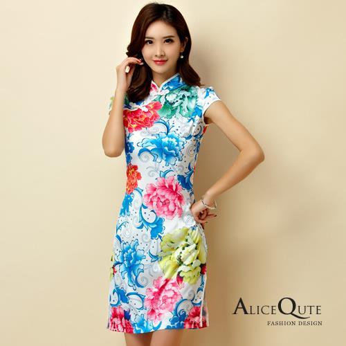 AliceQute花漾印圖短袖唐裝漢服旗袍中國服洋裝禮服~紅花~ 全  ~69069~~