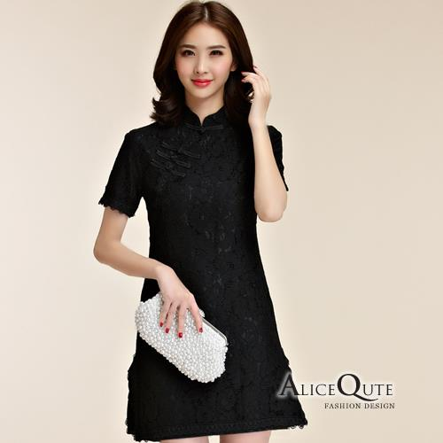 AliceQute蕾絲立領短袖唐裝漢服旗袍中國服洋裝禮服連衣裙~黑色~ 全  ~68999