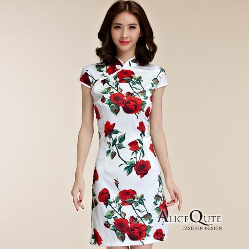 AliceQute蝶飛鳳舞印圖短袖唐裝漢服旗袍中國服洋裝禮服~玫瑰花~ 全  ~69013