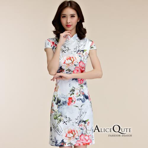 AliceQute蝶飛鳳舞印圖短袖唐裝漢服旗袍中國服洋裝禮服~牡丹花~ 全  ~69013
