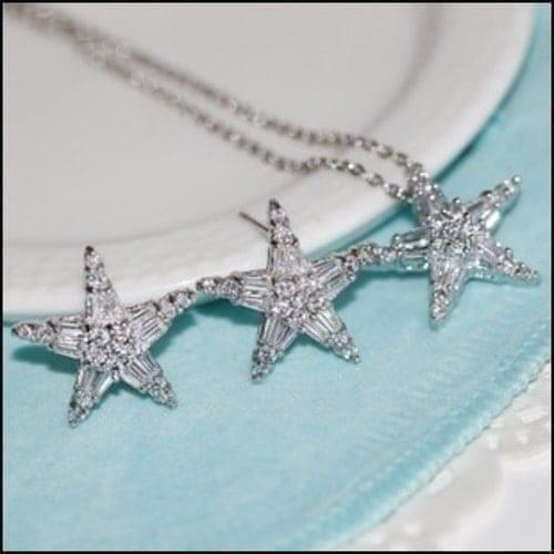 海星水晶微鑲鋯石耳釘