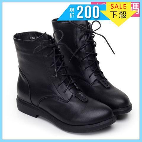 大 女靴~真皮 馬汀靴/短靴40~45碼 黑絨~NTL60001❤172巷鞋舖~