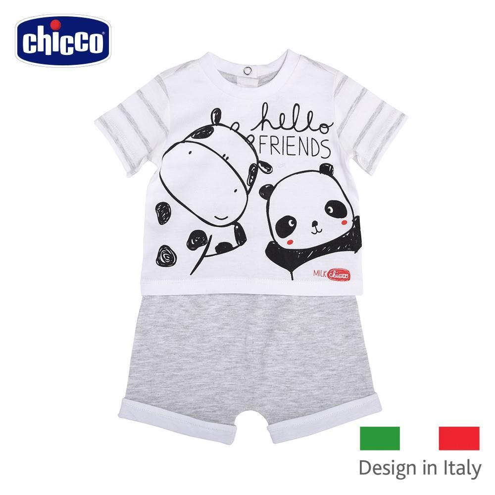 chicco~小乳牛條紋短袖套裝