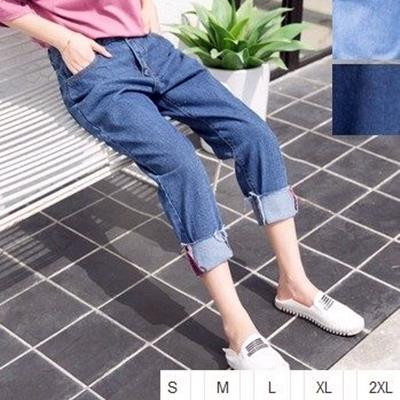 EASON SHOP^(GU0791^)實拍 水洗丹寧捲邊九分牛仔長褲寬褲S~2XL 女學