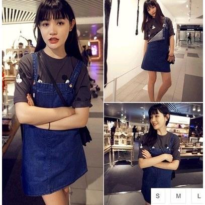 EASON SHOP GU0812 藍色丹寧大口袋牛仔吊帶裙S~L背心裙 大碼連身裙洋裝深