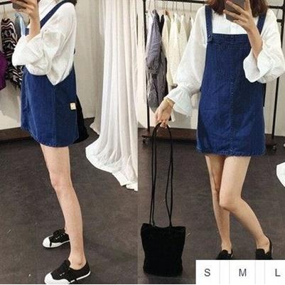 EASON SHOP GU0812 藍色丹寧大口袋牛仔背心裙S~L 大碼修身牛仔吊帶裙短裙