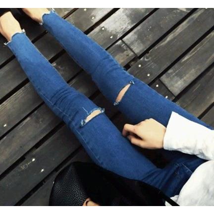 EASON SHOP GU1061  膝蓋破洞扣口撕邊貼腿牛仔長褲26~31 超顯瘦小腳磨