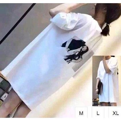 EASON SHOP^(GU1389^)長款照片T印刷圓領短袖T恤M~XL女上衣白棉T中長