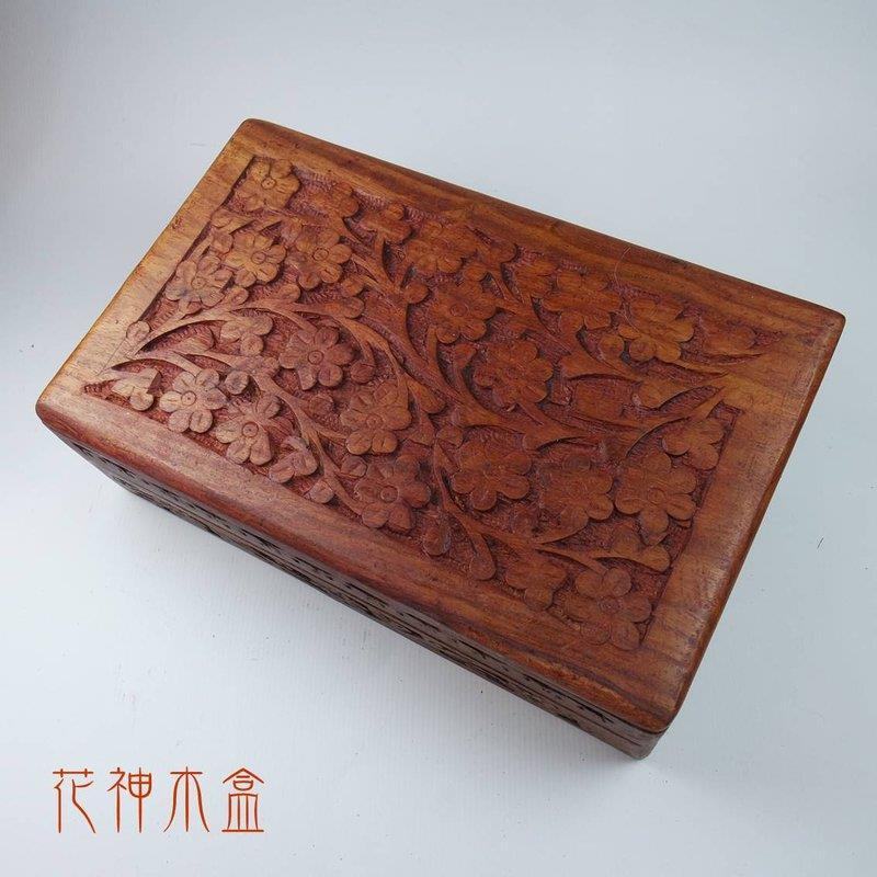 花神手雕木盒 塔羅盒 卡牌盒 珠寶 首飾盒 牌盒