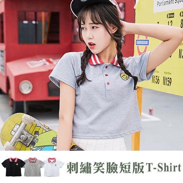 刺繡笑臉學院風短版T~Shirt  衣櫃控~WardrobE  AB~T016