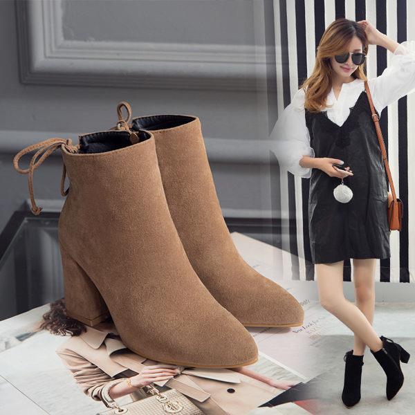 ^~丁果 ^~大 女鞋► 明星版優雅絨皮後拉鍊流蘇尖頭高跟短靴子 機車靴3色^( ^)
