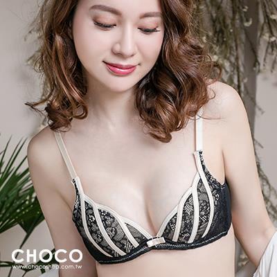 海洋之聲‧W杯刺繡蕾絲性感款 黑色  70B~80C Choco Shop