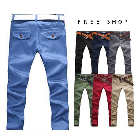 Free Shop~AMD85720~ 翻蓋口袋木扣合身修飾素窄版休閒長褲‧現 預^(六色