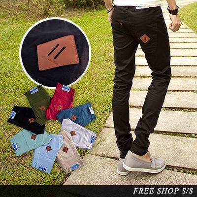 皮標休閒褲~Free Shop~~QC8061~潮流豬鼻皮標口袋彈性布料窄版修身小直筒休閒