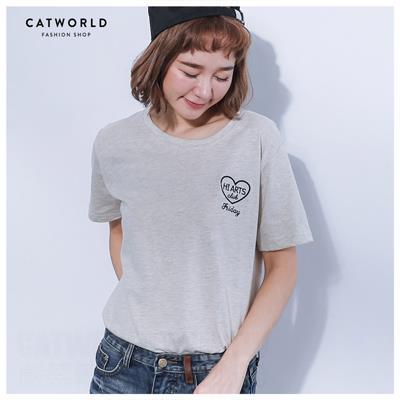 Catworld 正韓空運~俏皮HEART刺繡棉T~11304536~‧F