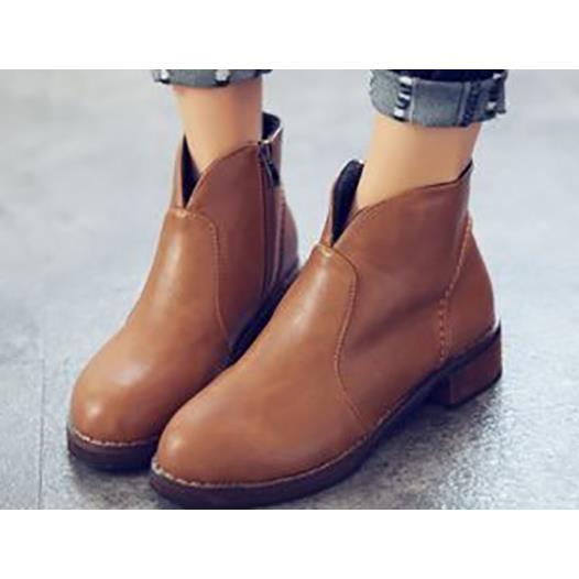 丁果女鞋► 百搭英倫風側拉鍊圓頭低跟短靴二色