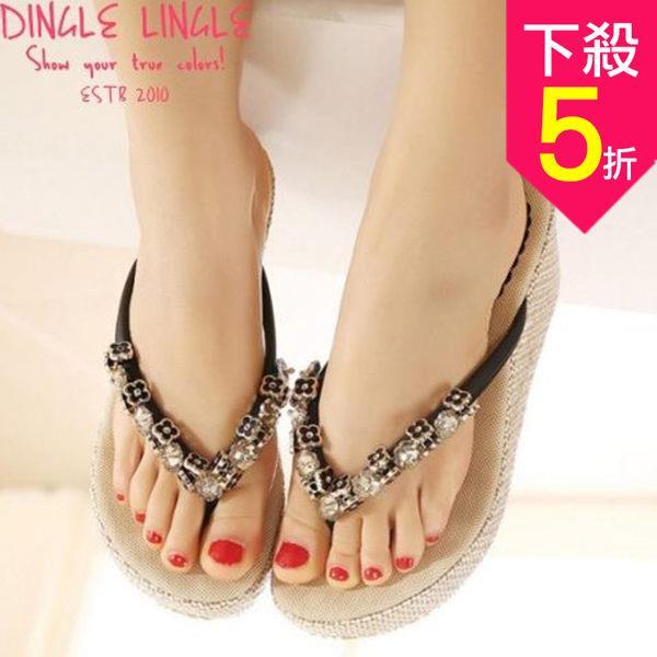涼拖鞋~金屬花朵串楔型厚底涼鞋~2色~杏 黑