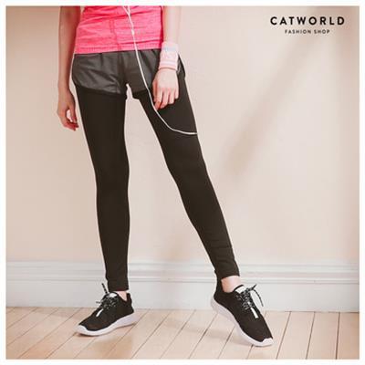 Catworld 愛心刺繡假兩件內搭 褲~12001593~‧S M L XL
