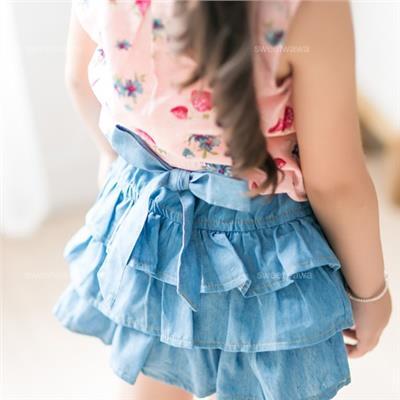 ~水娃娃 ~車邊蛋糕層次綁帶牛仔褲裙 230450