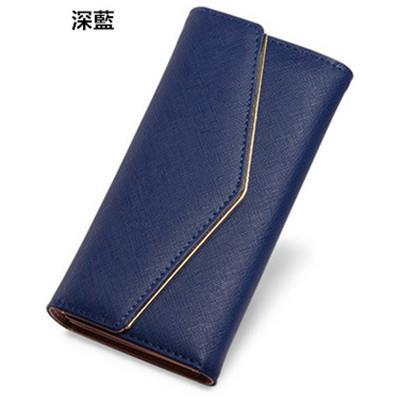 長夾 歐洲風V十字紋三折搭扣長皮夾 手機錢包 V066~寶來小舖~ 販售