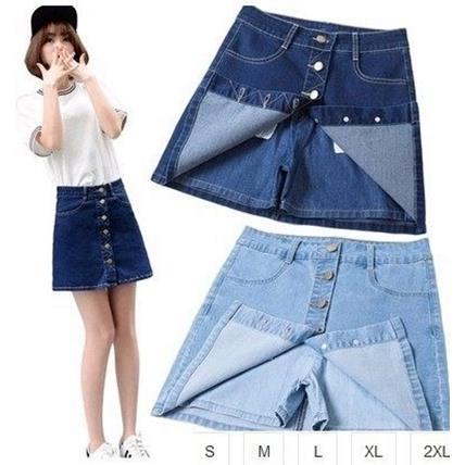 EASON SHOP^(GU1083^)水洗丹寧排扣純色牛仔短裙褲裙S~2XL牛仔裙半身裙