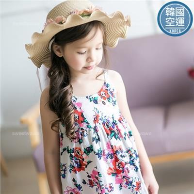 ~水娃娃 ~韓國 ~艷彩花卉細肩帶露背小洋裝上衣 230485