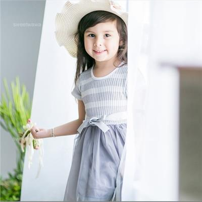 ~水娃娃 ~灰白針織雙色橫條拼接雪紡浪漫洋裝 230465