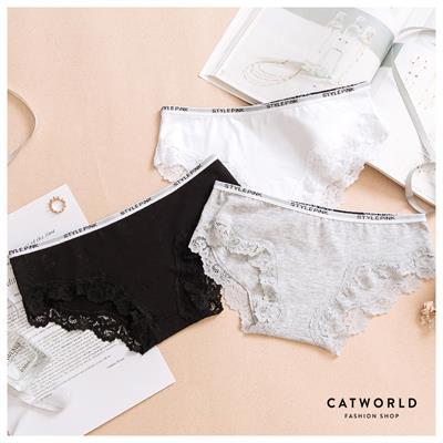 Catworld 英文字緹花滾邊低腰棉質內褲~18801224~‧M L