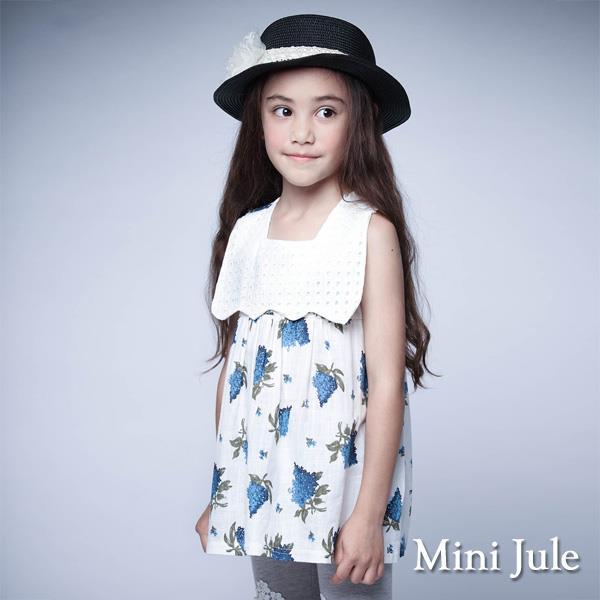 ~Mini Jule~上衣 波浪領藍花後排扣無袖上衣 白