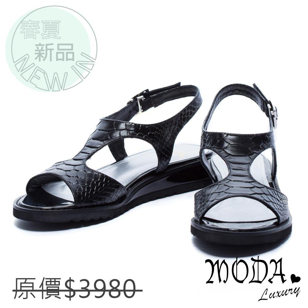MODA Luxury 鏤空壓紋牛皮厚底涼鞋-黑