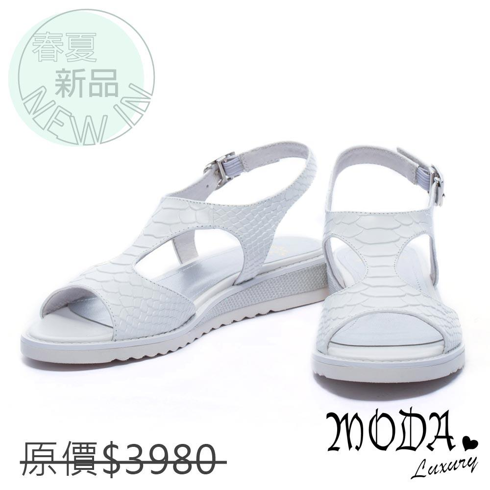 MODA Luxury 鏤空壓紋牛皮厚底涼鞋-白