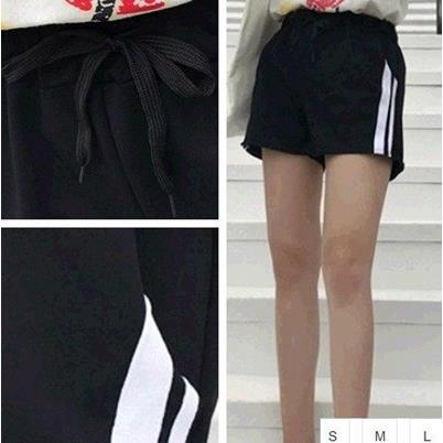 EASON SHOP GU1794 實拍~黑色條紋 鬆緊腰熱褲抽繩女短褲女裝短寬褲顯瘦學生