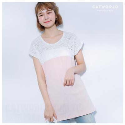 Catworld 正韓空運~鏤空蕾絲領壓紋素色上衣~11406066~‧F