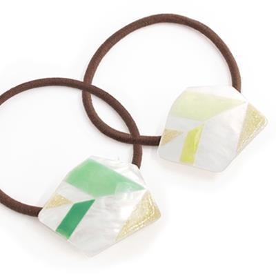 Kaza 珠光色澤幾何嫩葉髮圈  綠色系   黃色系  ◤apm飾品◢