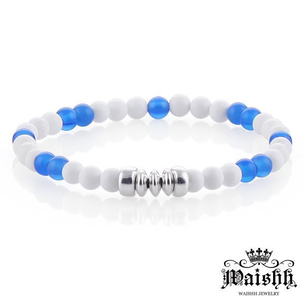 Waishh玩飾不恭~蔚藍天空~925純銀瑪瑙玉髓白硨磲串珠手鍊 FL052
