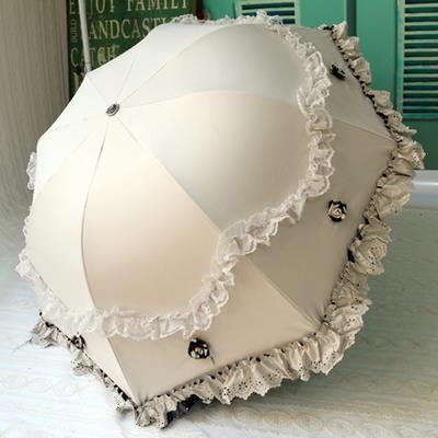 款^~太陽傘防曬蕾絲花邊公主傘拱形遮陽傘超強防紫外線黑膠傘晴雨傘