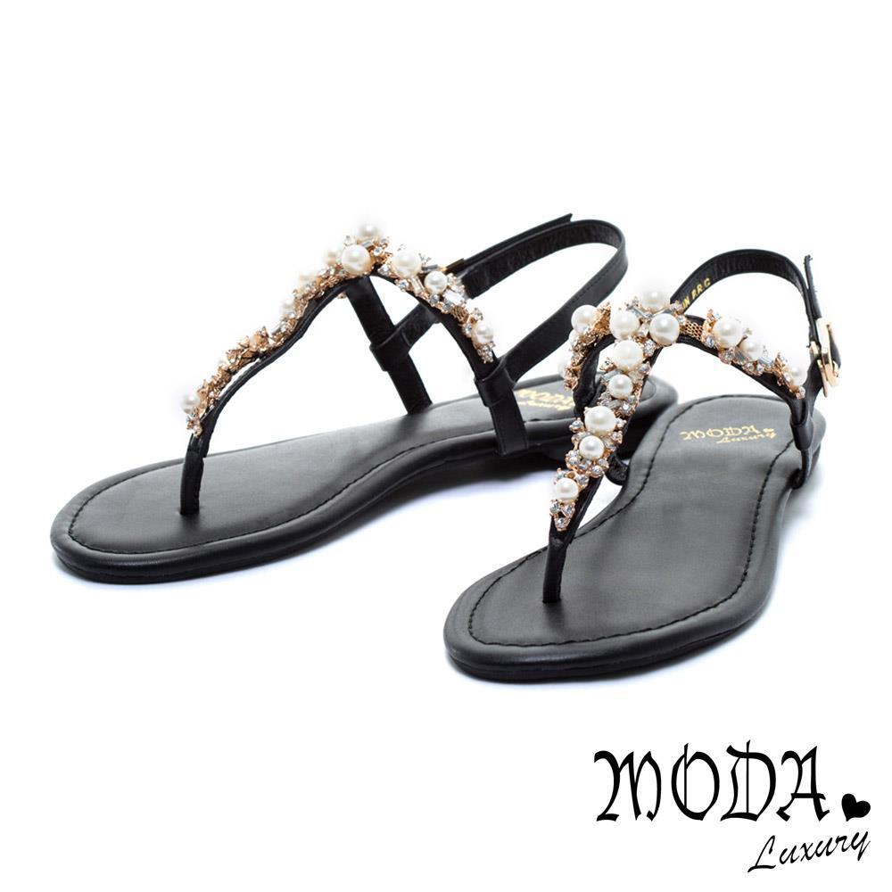 MODA Luxury 優雅珍珠水鑽牛皮美肌T字夾腳涼鞋-黑
