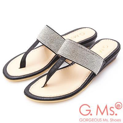 G.Ms. MIT系列-貼鑽T字夾腳涼拖鞋-黑色