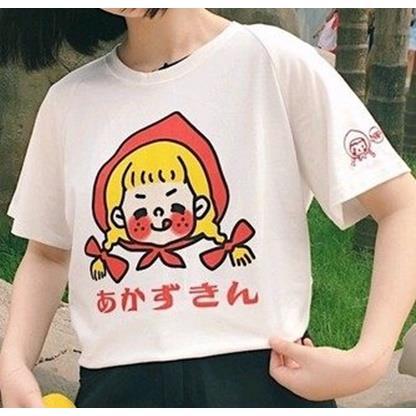 EASON SHOP GU2041 實拍圓領短袖T恤五分袖女上衣白色棉T日文印刷塗鴉女孩夏