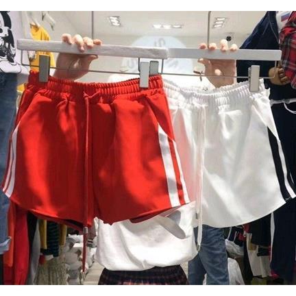 EASON SHOP GU2106  短褲鬆緊腰側邊條紋綁帶抽繩紅色睡褲寬鬆高腰跑步瑜伽女