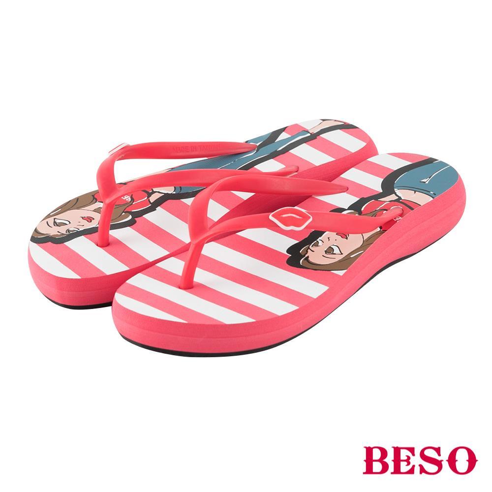 BESO◆海軍風格 BESO girl條紋人字拖^~紅