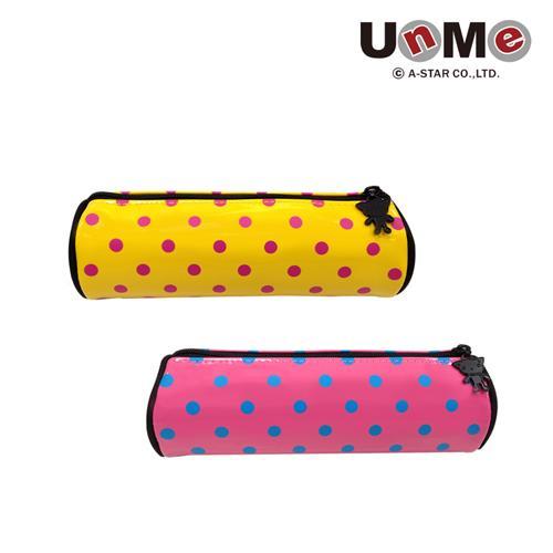 UNME 點點圓筒 筆袋 亮黃 粉紅