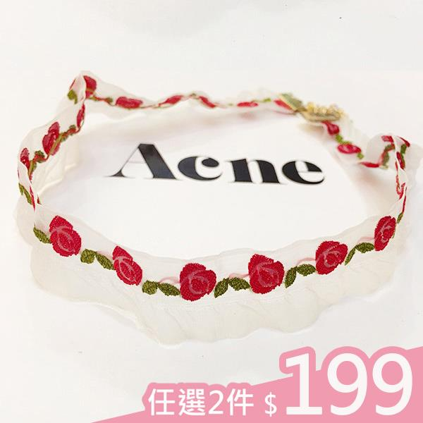 2件199元~項鍊~紅玫瑰刺繡透明紗鎖骨頸鍊 Kiwi Shop奇異果0613~SVD24