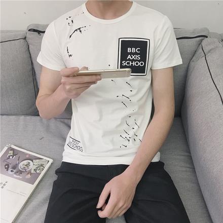 黑白斜潑漆胸前方框撞色字母印花圓領棉質短T短袖上衣~QMDMM801~