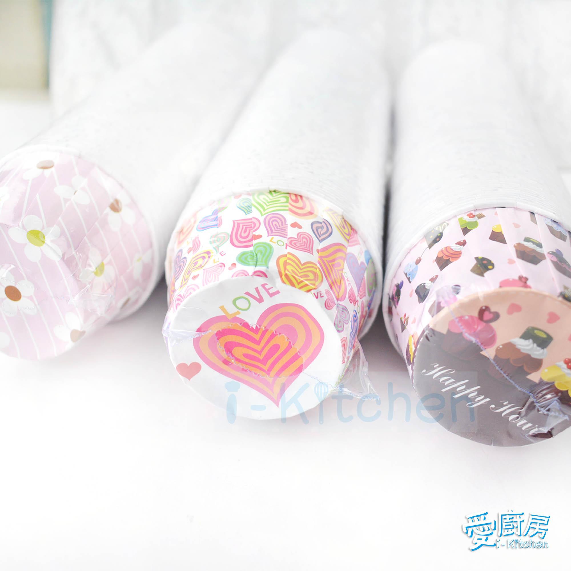 愛廚房~百卷杯 5039 100入捲口杯 粉紅花朵愛心小蛋糕 捲邊杯 瑪芬杯 百摺捲杯 蛋