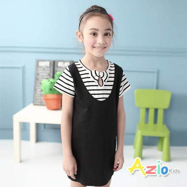 ~Azio Kids~洋裝 條紋假兩件吊帶裙 黑