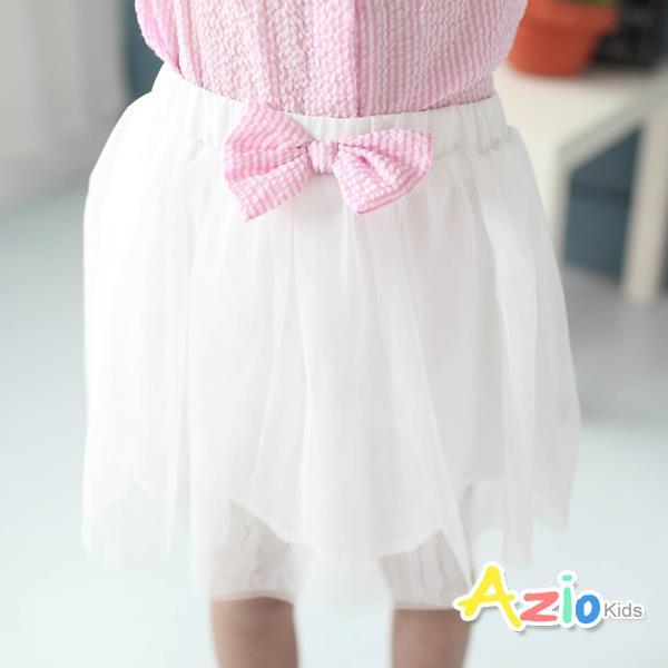 ~Azio Kids~褲裙 條紋蝴蝶結網紗鬆緊褲裙 粉