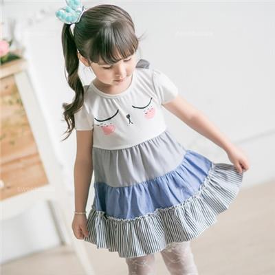 ~水娃娃 ~瞇眼兔條紋拼接層次傘狀上衣小洋裝 230705