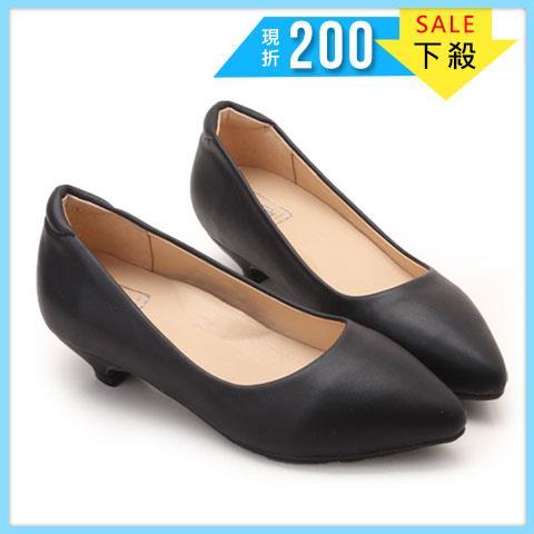 大 女鞋~OL 尖頭低跟鞋/跟鞋40~45碼 黑色~NYSD137❤172巷鞋舖~