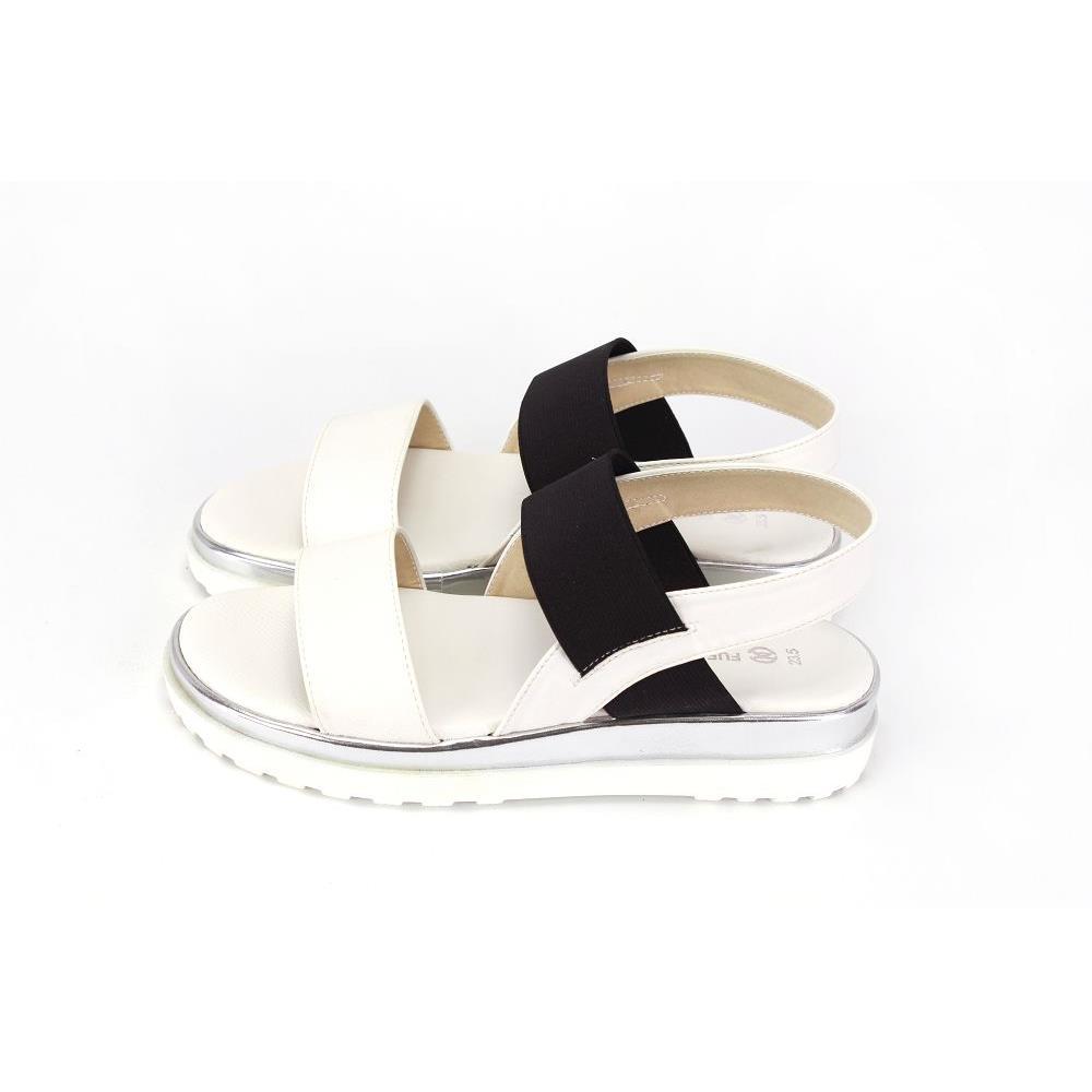 MMFB17 黑白鬆緊淑女涼鞋 白